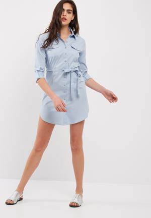 Dailyfriday Poplin Shirt Dress With Self Fabric Tie Belt Formal