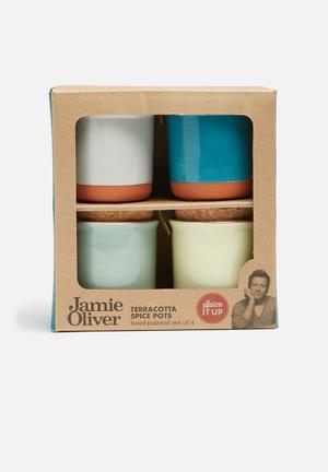 Jamie Oliver Terracotta Spice Jars Set Of 4 Kitchen Accessories