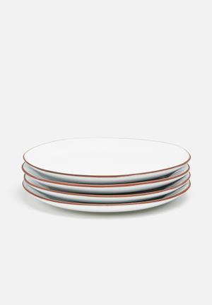 Urchin Art Terracotta Edge Side Plate Set Of 4 Dining & Napery