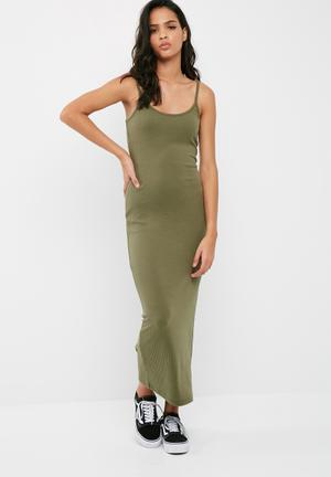 Missguided Ribbed Midi Dress Casual