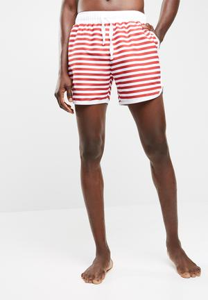Basicthread Striped Swimshort With Piping Swimwear