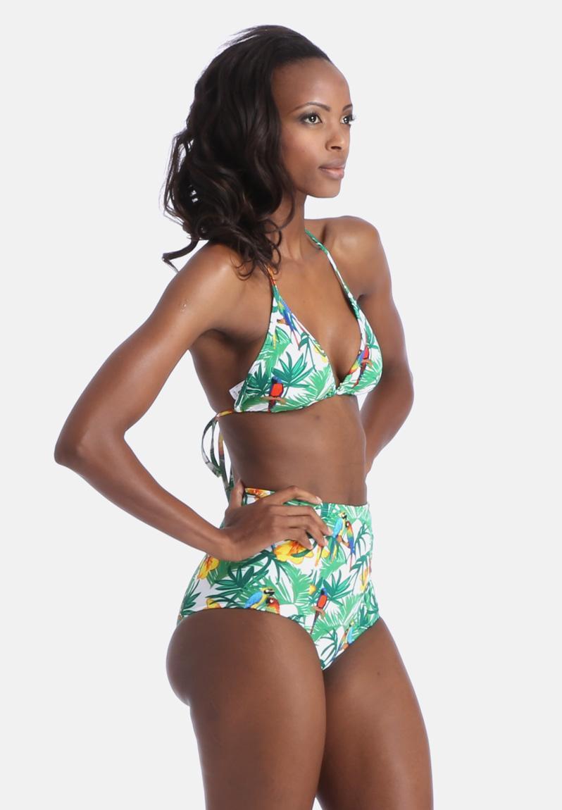 paradise print nylon tricot bikini top green american. Black Bedroom Furniture Sets. Home Design Ideas