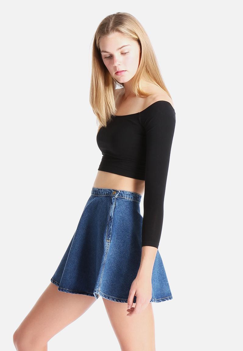 Cotton Spandex Long Sleeve Off Shoulder Top Black