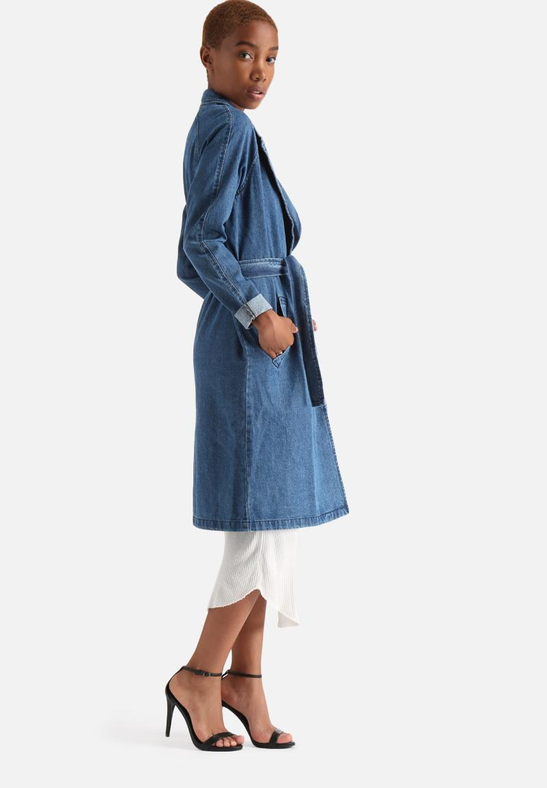 mona ls denim trench coat medium blue denim vero moda. Black Bedroom Furniture Sets. Home Design Ideas
