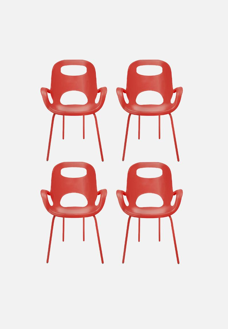 OH CHAIR RED SET OF 4 Umbra Chairs