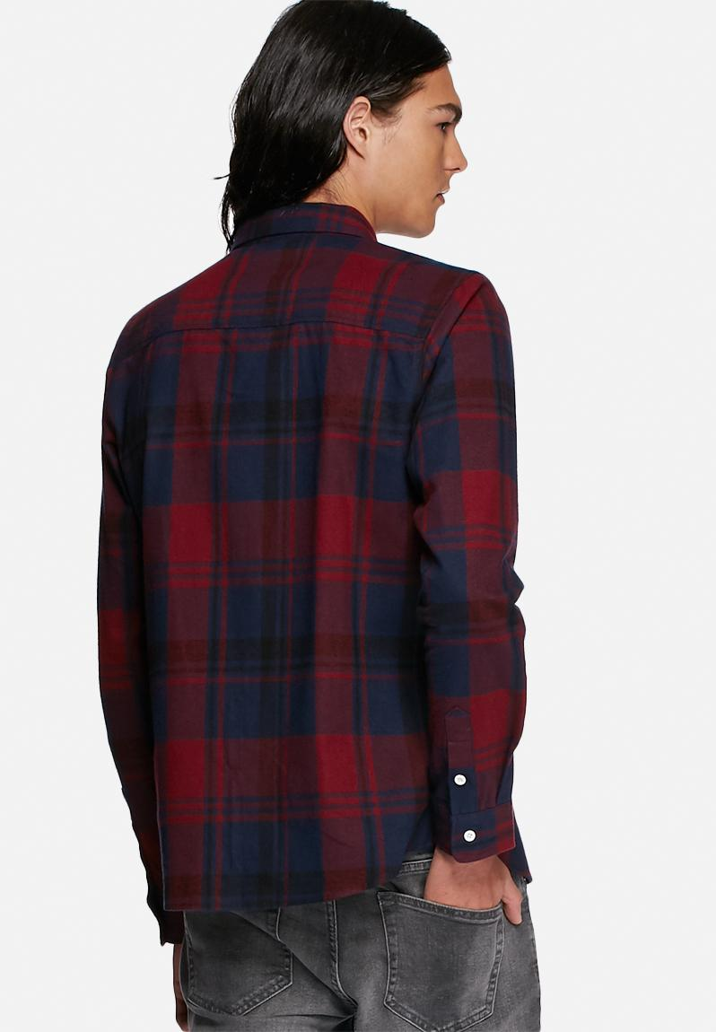 Flannel Check Shirt Red Blue Another Influence Shirts