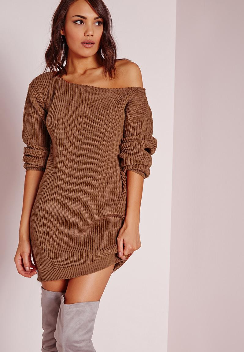 Off Shoulder Jumper Dress Brown Missguided Casual