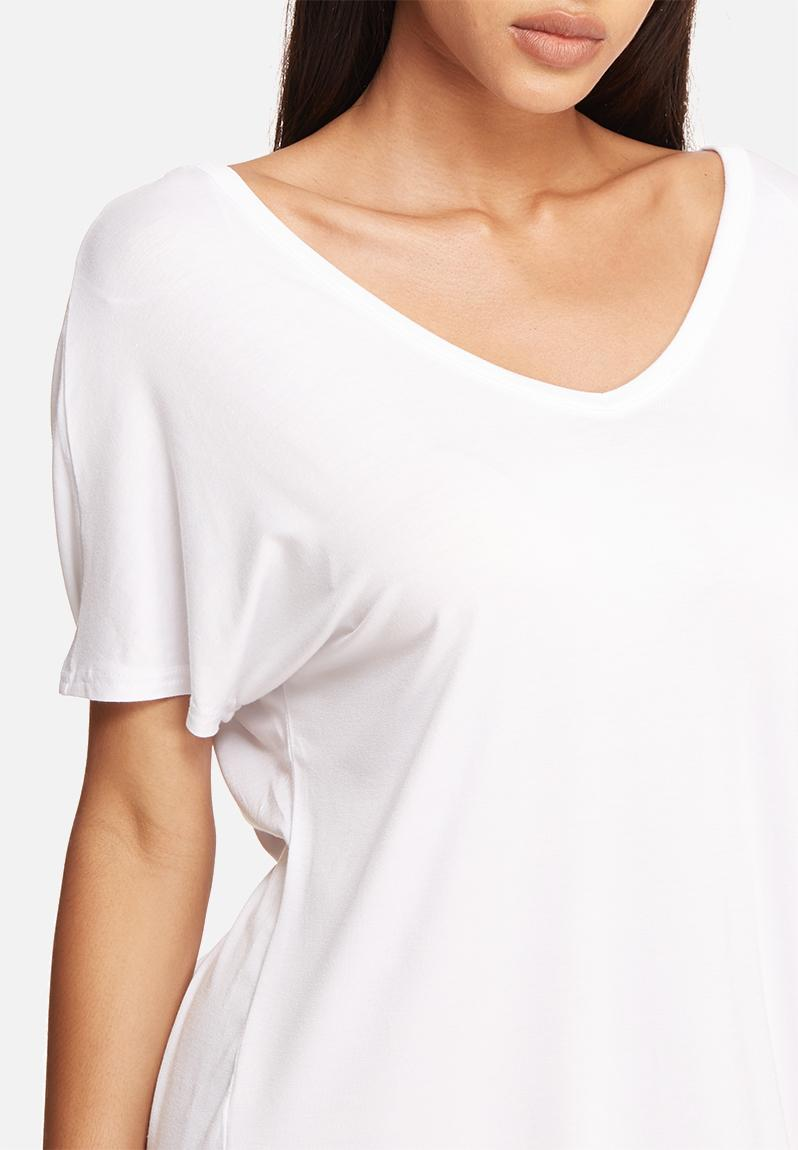 Wide V Neck T Shirt Dress White Missguided Casual