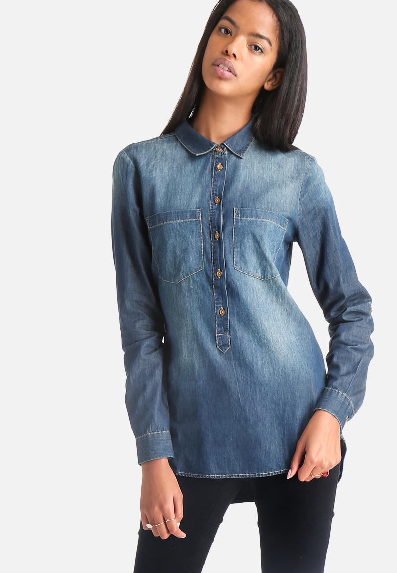 Kendall denim shirt dark blue denim jacqueline de yong for Blue denim shirt for womens
