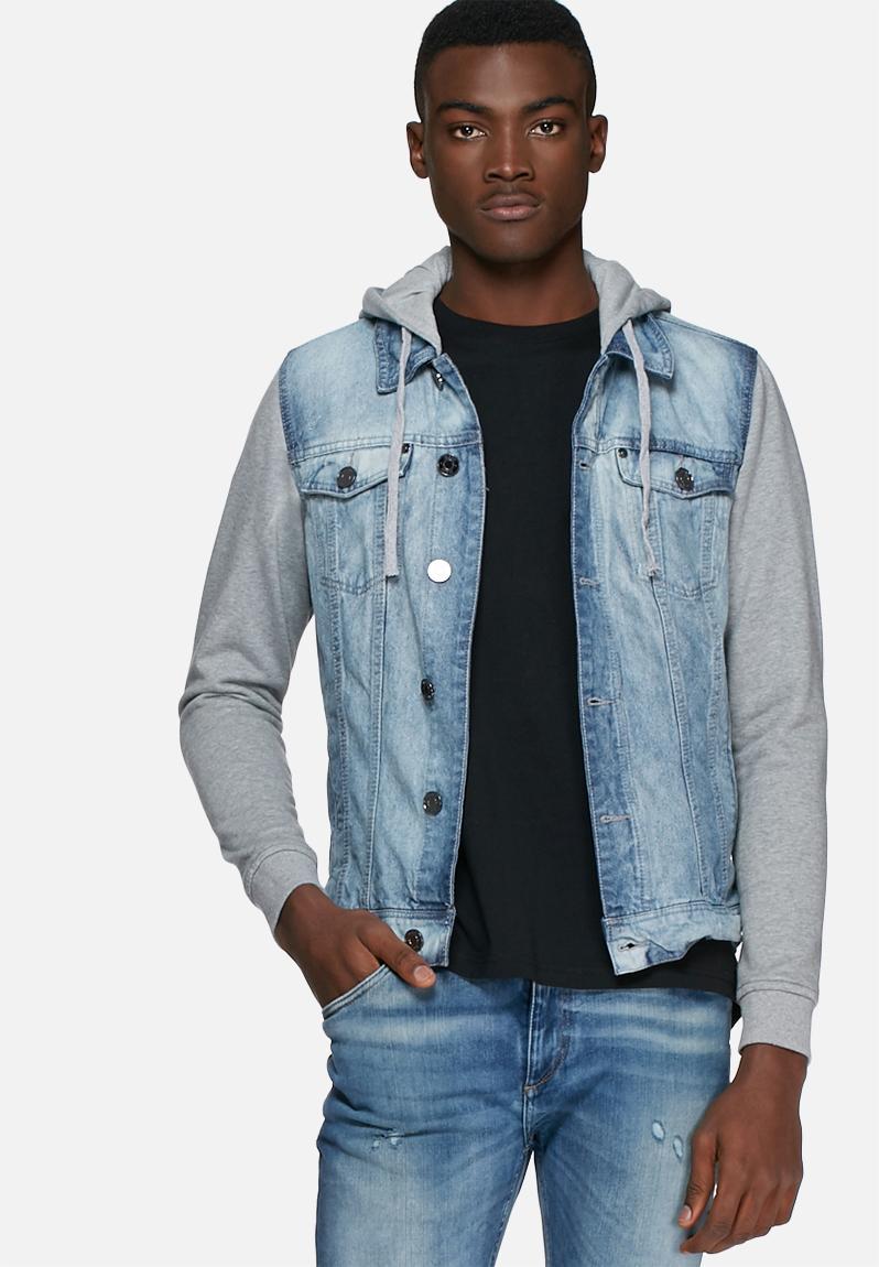 Denim jacket sweat sleeves