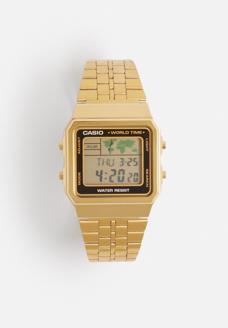 digital wrist watch � gold amp black casio watches