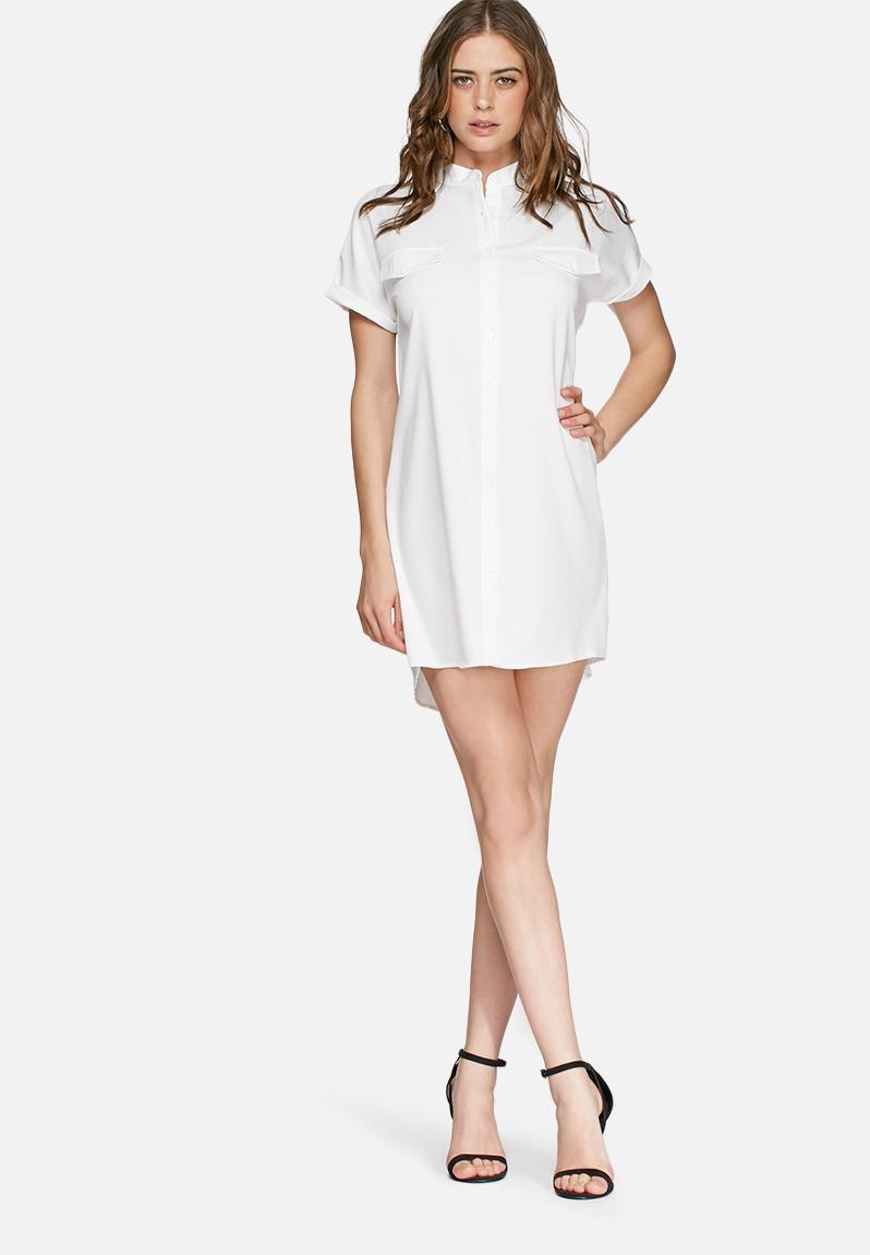 Short sleeve shirt dress white missguided casual for Short sleeve casual shirt