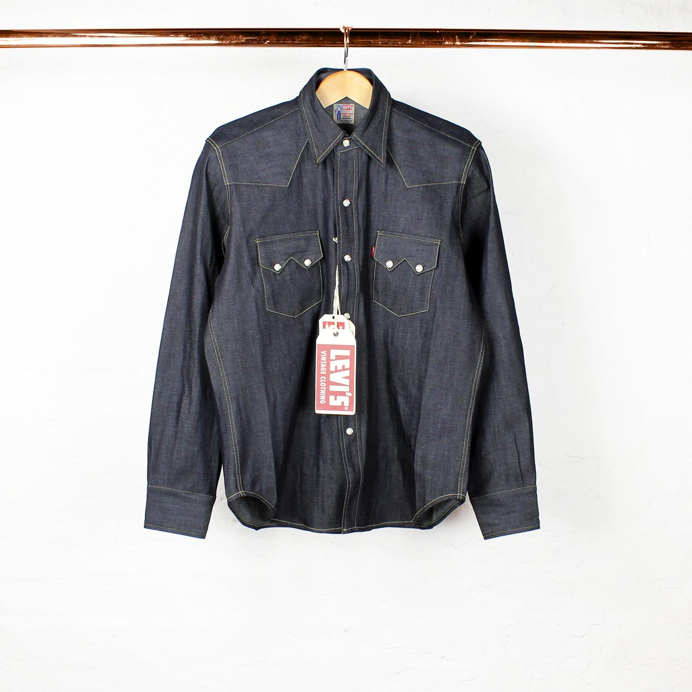 1955 sawtooth denim shirt rigid levi s vintage range for Levis vintage denim shirt 1950 sawtooth slim fit