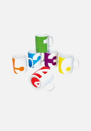 Suck UK Number Mugs Set Of 6 Porcelain