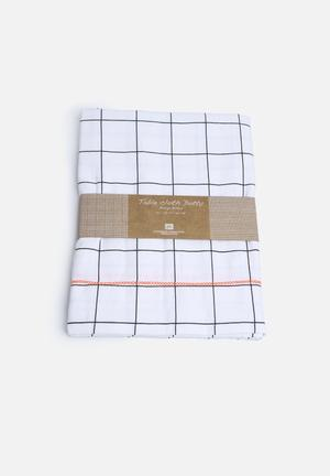 Present Time Grid Table Cloth Dining & Napery 200gms Cotton