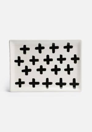 Urchin Art Swiss Cross Platter Dining & Napery Black