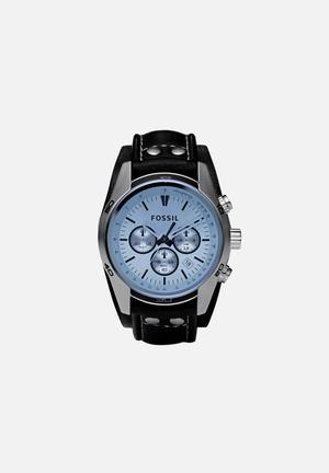Fossil Coachman Watches Silver, Blue & Black