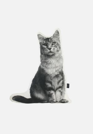 Ménagerie Tabitha Cat Cushion  Stone & Black