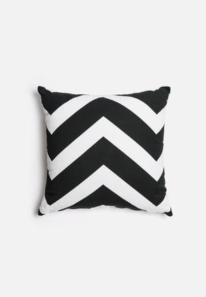 Sixth Floor Chevron Printed Cushion Black