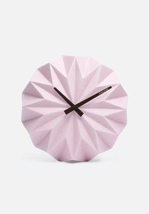 Present Time Origami Wall Clock Accessories Soft Pink