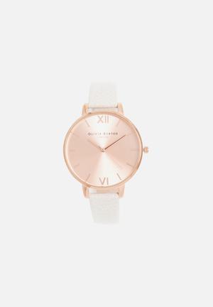 Olivia Burton Big Dial Watches Light Grey & Rose Gold