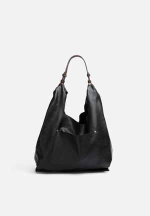 FSP Collection Cassey Leather Hobo Bags & Purses Black