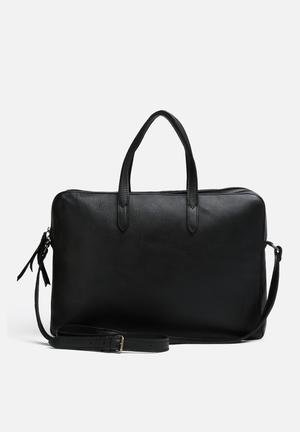 FSP Collection Anna Leather Briefcase Bags & Purses Black