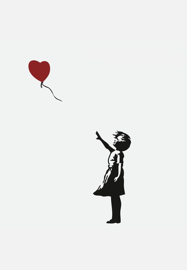 girl with red balloon wall decal banksy art. Black Bedroom Furniture Sets. Home Design Ideas